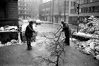 Siege of Sarajevo - Sarajevo residents collecting firewood, winter of 1992–1993