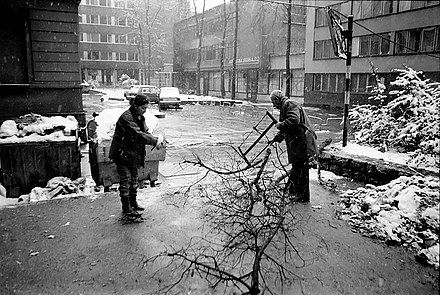 Sarajevo residents collecting firewood, winter of 1992-93 Sarajevo Siege Collecting Firewood 2.jpg