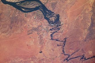 Zambezi - Satellite image showing Victoria Falls and subsequent series of zigzagging gorges