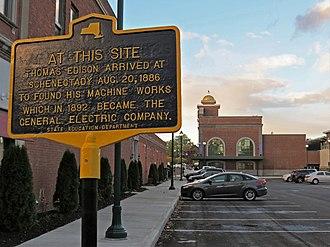 Edison Machine Works - Historical marker about the Machine Works in Schenectady.