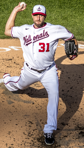 Scherzer off mound from Nationals vs. Braves at Nationals Park, April 6th, 2021 (All-Pro Reels Photography) (51101533121) (cropped).png