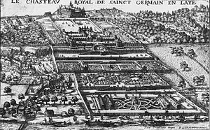 Gravure en noir et blanc représentant les deux châteaux de Saint-Germain. On observe la grande extension des terrasses, des jardins et des potagers descendant jusqu'à la Seine qui est parcourue par des bateliers