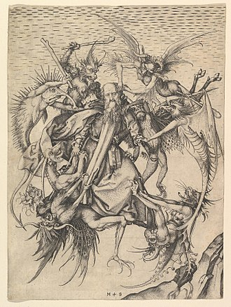 Classification of demons - The Temptation of St. Anthony by Martin Schongauer