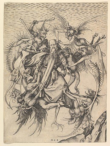 Святой Антоний Великий, избиваемый демонами, желающими прогнать его с места отшельнического подвига, на картине Мартина Шонгауэра, 1480