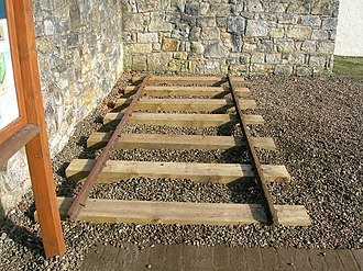 4 ft 6 in gauge railway - A section of original 1831 Scotch gauge track relaid at Eglinton Country Park in North Ayrshire.