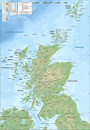 Outline of Scotland - Enlargeable relief map of Scotland