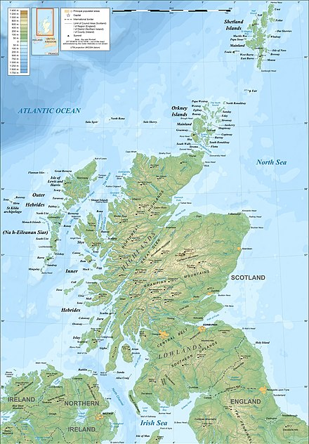 Map of mainland Scotland, northern England and Ireland and neighbouring islands, including (part of) the Isle of Man, the Hebrides, Orkney and Shetland - Kingdom of the Isles
