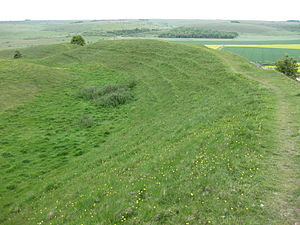 Scratchbury Camp - Detail of the northeast flank earthwork defences at Scratchbury Camp