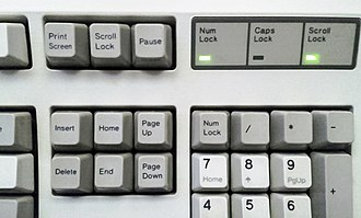 Scroll lock - The scroll-lock key with activated indicator light on an IBM Model M keyboard.