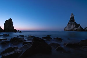 Blue hour - Praia da Ursa, Sintra, Portugal. A blue hour seascape seen in wide angle