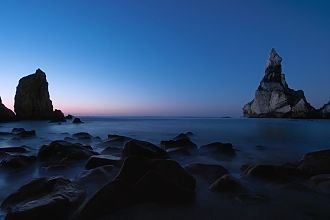 Blue hour - Praia da Ursa, Sintra, Portugal: A wide-angle view of the seascape during the blue hour
