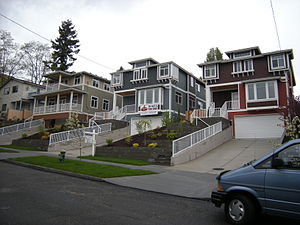 Seattle box - Craftsman revival homes built in 2005 in Seattle's Central District incorporating several architectural elements of the classic Seattle box.
