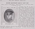 Second Lieutenant Leon D. Van't Hof died of Infuenza on September 26, 1918 - The History and achievements of the Fort Sheridan officersʾ training camps (IA historyachieveme00fort 1) (page 166 crop).jpg