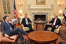 Affleck with Russ Feingold and Secretary of State John Kerry in February 2014