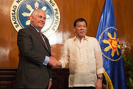 Duterte with then U.S. Secretary of State Rex Tillerson, August 7, 2017 Secretary Tillerson Shakes Hands with President Rodrigo Duterte (36027526740).jpg