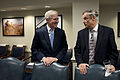 Secretary of the U.S. Navy Ray Mabus, left, speaks with Undersecretary of Defense (Comptroller) Robert Hale before a meeting with Secretary of Defense Chuck Hagel and his Senior Leadership Council Nov. 12, 2013 131112-D-BW835-014.jpg
