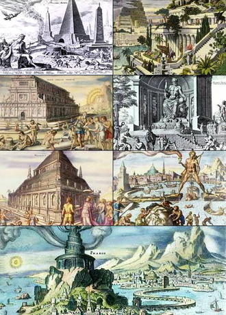 Wonders of the World - The Seven Wonders of the Ancient World (from left to right, top to bottom): Great Pyramid of Giza, Hanging Gardens of Babylon, Temple of Artemis at Ephesus, Statue of Zeus at Olympia, Mausoleum at Halicarnassus (also known as the Mausoleum of Mausolus), Colossus of Rhodes, and the Lighthouse of Alexandria as depicted by 16th-century Dutch artist Maarten van Heemskerck.