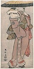 Nakayama Tomisaburō I as Ohisa, wife of Sazanami Tatsugorō, actually Teriha, the younger sister of Sadatō