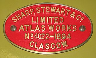 "Sharp, Stewart and Company - Maker's plate from preserved Highland Railway ""Jones Goods"" No. 103"