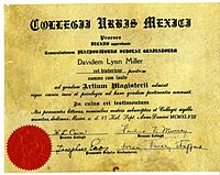 Sheepskin diploma from Mexico City College, 1948 (in Latin)