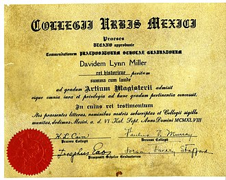 Diploma - Sheepskin diploma from Mexico City College, 1948 (in Latin)