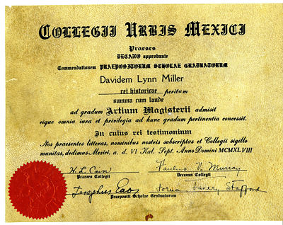 Sheepskin diploma from Mexico City College, 1948 (in Latin) SheepskinDiploma.jpg