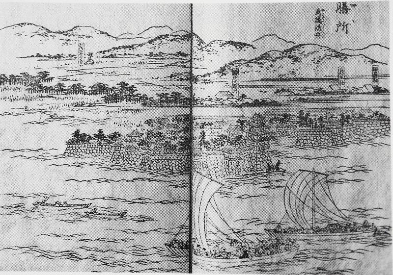 ファイル:伊勢さんぐうめいしょずえ.pngのZeze城前の船