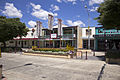 Shops, Walsh's Hotel and pedestrian island in Monaro Street (Kings Highway) in Queanbeyan.jpg