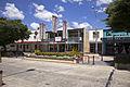 Shops, Walsh's Hotel and pedestrian island in Monaro Street (Kings Highway) in Queanbeyan.jpg