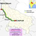 Shram Shakti Express (Kanpur - New Delhi) Shatabdi Express route map.png