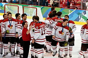 Canadianism - Canada men's national ice hockey team celebrates Gold at the 2010 Winter Olympics in Vancouver