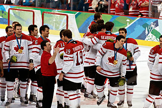 2010 Winter Olympics - Sidney Crosby celebrates moments after scoring the gold-medal-winning goal over the United States.