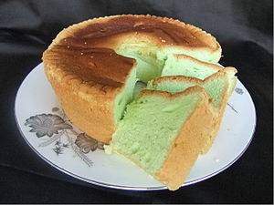 Pandanus - Pandan cake is really light sponge cake flavoured with the pandan leaf extract.