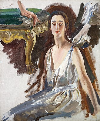 Sybil Cholmondeley, Marchioness of Cholmondeley - 1922 portrait of Cholmondeley by Charles Sims; a preparatory work for the artist's The Countess of Rocksavage and her Son