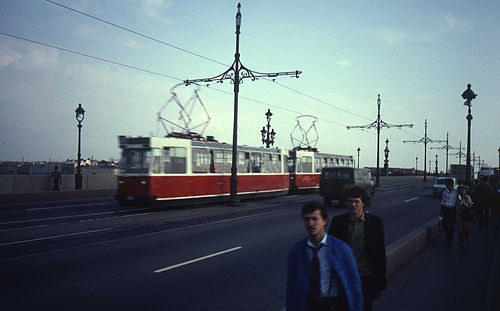 Saint Petersburg trams cross Trinity Bridge in 1982