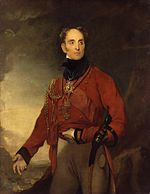 Painting shows a balding man with his left hand on his stomach and his right hand gesturing. He wears a red military coat and buff breeches.