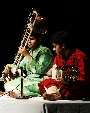 Raga - Two Indian musicians performing a raga duet called Jugalbandi.