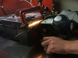 An Easton Hockey skate being sharpened
