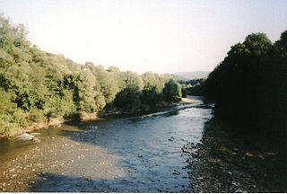 Skawa river in Poland