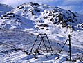 Skeleton of old fence and stile at head of Easdale 1986 - geograph.org.uk - 1042989.jpg