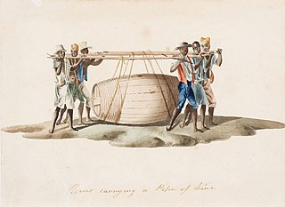 Slaves carryng a Pipe of Wine