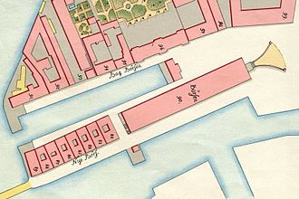 Slotsholmsgade - The Børs Dock and the street Bag Børsen as seen on Gedde's maps of Copenhagen from 1757