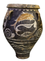 Small pithos, fish in a net, Phaistos, 1800-1700 BC, AMH, 144972 cropped white bg.png
