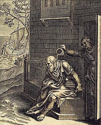Xanthippe - An emblem book print portraying Xanthippe emptying a chamber pot over Socrates, from Emblemata Horatiana illustrated by Otho Vaenius, 1607.