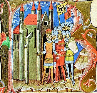 Solomon, King of Hungary -  Solomon, assisted by Henry IV of Germany, returns to Hungary (from the Illuminated Chronicle)