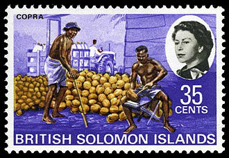 Monarchy of Solomon Islands - Stamp of the British Solomon Islands with portrait of Queen Elizabeth II, 1968