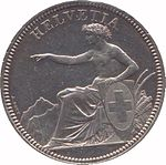 Helvetia seated, holding shield bearing the Swiss Cross, pointing left. Legend above.