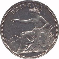 The thaler sized Swiss 5 francs coin (introduced 1850, at 25 grams Ag 90%) continued to be minted in silver until 1928 (in reduced size, 15 grams Ag 83.5%, until 1969). Solothurn1.jpg