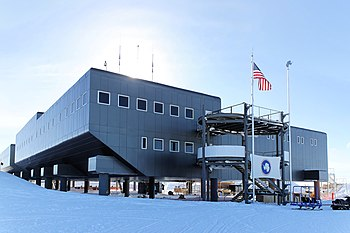 A view of the Amundsen–Scott Station in 2009. In the foreground is Destination Alpha, one of the two main entrances.