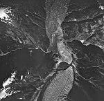 South Sawyer Glacier, tidewater glacier terminus and hanging glacier, August 24, 1963 (GLACIERS 5880).jpg